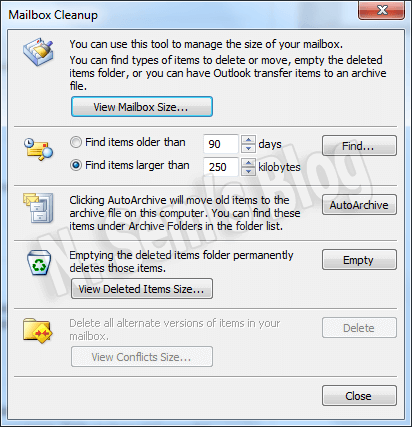 mailbox cleanup (2) in Outlook 2010