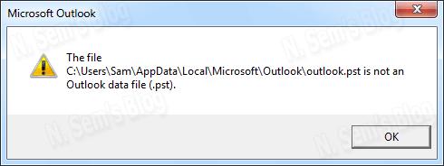 PST file error message