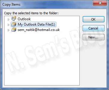 split PST using Outlook's Copy feature