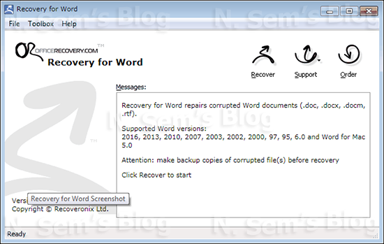 Word Repair tool from OfficeRecovery