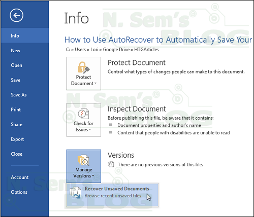 Microsoft Word AutoRecover