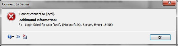 MS SQL server error message 18456