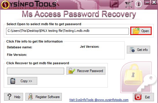 select file to recover password