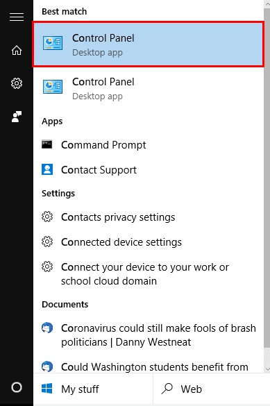 click on control panel
